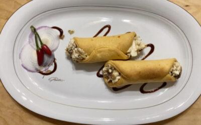Cannolo al peperoncino ripieno di mozzarella di bufala e cipolla caramellata