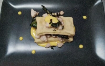Millefoglie al pesce spada con maionese di bergamotto